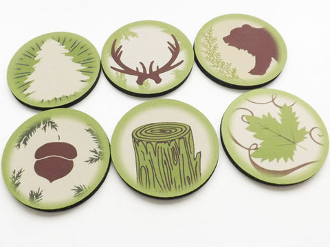 Outdoor Coasters hiking camping nature gift for him acorn leaves antlers bear tree rustic home decor adventure forest travel party favor-Art Altered
