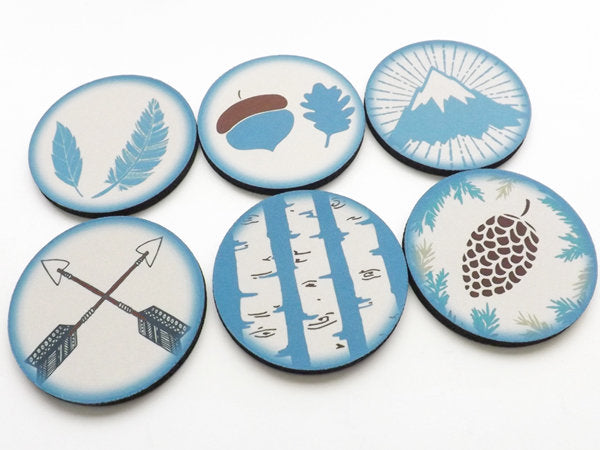 Adventure Coasters hiking camping nature gift for him acorn leaves mountain birch tree rustic decor pinecone arrows feather stocking stuffer-Art Altered