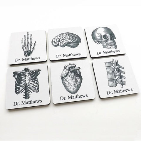 Personalized Coasters Medical School Student Graduation anatomy gift doctor nurse practitioner physician assistant custom name thank you pa-Art Altered