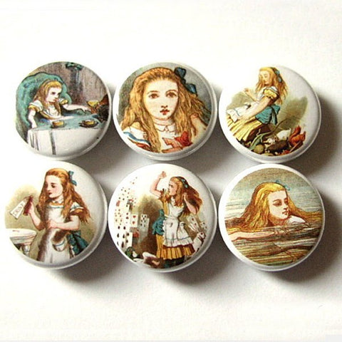 Alice's Adventures Button Pins Badges drink me pinback party favors stocking stuffers shower gifts flair accessories magnets carroll tenniel-Art Altered