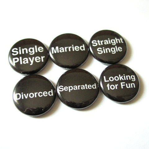 Relationship Status Button Pins bachelorette Party shower favors single married dating straight divorce gifts geek magnets novelty hostess-Art Altered
