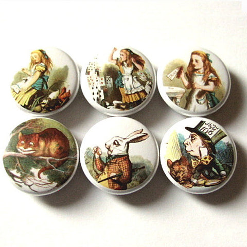 Alice's Adventures refrigerator Magnets mad hatter cheshire cat drink me party favor stocking stuffer shower gift pin button carroll tenniel-Art Altered
