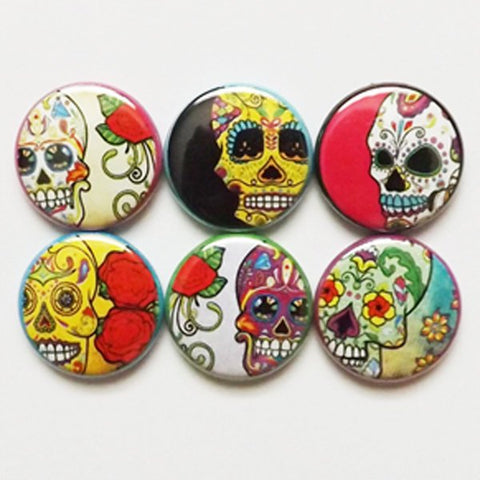 Fridge Magnet Set dia de los muertos gift day of the dead sugar skulls halloween skeleton calavera wedding shower bridal party favor-Art Altered