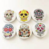 Day of the Dead Sugar Skulls Pinback buttons Pins Dia De Los Muertos skeleton party favors stocking stuffers shower wedding calavera gift-Art Altered
