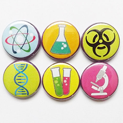 Science button pins badges geekery party favors stocking stuffers dna test tubes beaker microscope atom nerd magnets teacher gift for him-Art Altered