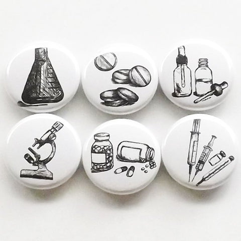 Pharmacist Gift magnets graduation pills vials microscope beaker syringe pharmacy science party favor stocking stuffer medical button pin-Art Altered