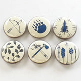 Camping Gift fridge magnets outdoors traveler bear paw leaves nature bow arrow hatchet tree forest rustic home decor hiking button pins-Art Altered