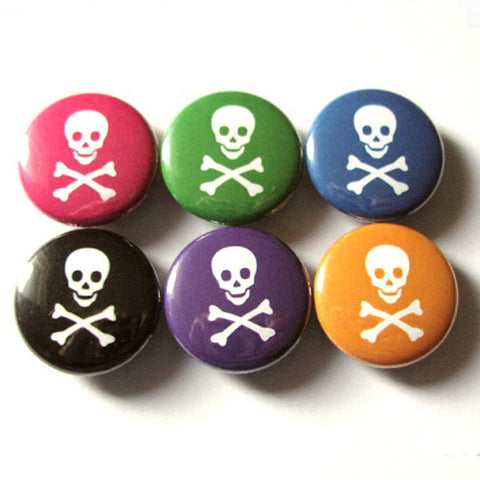 Pirate skulls crossbones refrigerator magnets pastel goth fridge stocking stuffer party favor funky flair pins novelty geekery home kitchen-Art Altered