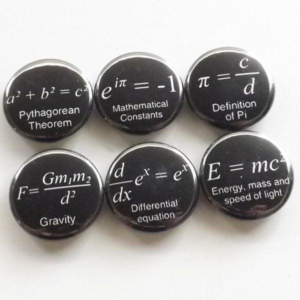 Formula badges, back to school, math gift, science, algebra, magnets, teacher, backpack pins, party favor, relativity, black and white-Art Altered