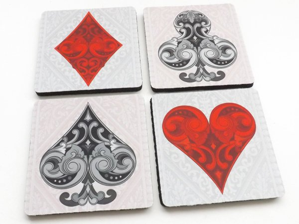 Playing Card Coasters poker suits diamond spade club heart game night housewarming hostess gift for him her party favors stocking stuffers-Art Altered