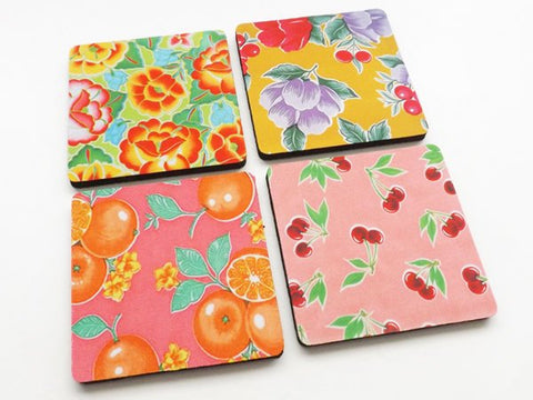 Fruit and Flowers drink coasters gift set oranges cherries mid century modern rockabilly retro kitchen decor hostess housewarming garden-Art Altered