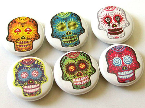 Fridge Magnets funky sugar skulls Dia De Los Muertos day of the dead skeleton calavera holiday party favor pastel goth button pins hostess-Art Altered