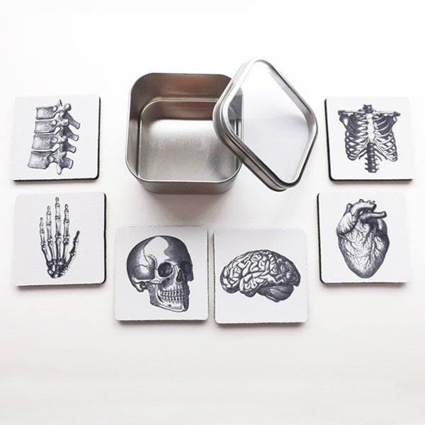 Medical Student Gift Graduation Anatomy Coasters goth for doctor nurse practitioner physician assistant anatomical heart bones skeleton med-Art Altered
