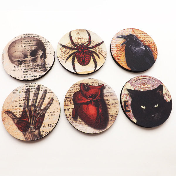 Halloween home decor Coasters hostess gift party favors goth decorations trick or treat spooky scary macabre oddities skull anatomical heart-Art Altered