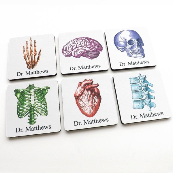 Custom Name Medical School Student Graduation Coasters anatomy gift doctor nurse practitioner physician assistant personalized party biology-Art Altered