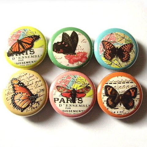 Butterflies and Maps fridge magnets spring nature 1 inch insect butterfly stocking stuffer party favors hostess gifts flair button pins-Art Altered