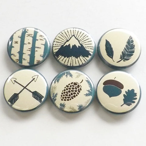 Outdoors Fridge Magnets rustic travel decor gift mountain arrows pinecone feather acorn tree nature adventure party favors button pins-Art Altered