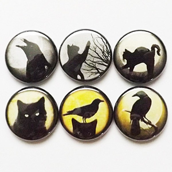 Fridge Magnets Black Cats Ravens crows halloween geekery party favors stocking stuffers trick or treat birds goth moon gifts silhouette pins-Art Altered