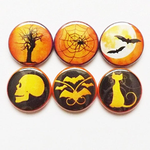 Spooky Halloween Magnets 1 inch skull bats cat spider web mood trick or treat party favors stocking stuffers goth silhouette pins geek gift-Art Altered