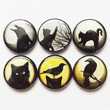 Button Pins Black Cats Ravens pinbacks badges magnets halloween crows party favors stocking stuffers trick or treat bags goth spooky gifts-Art Altered
