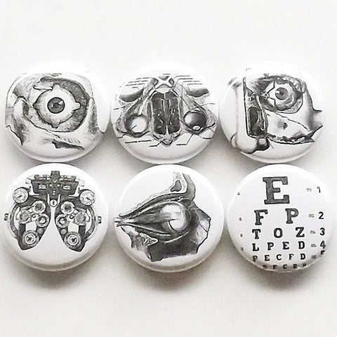 Eye Doctor Optometrist Gift magnets graduation party favor stocking stuffer refractor snellen anatomy ophthalmologist medical button pin-Art Altered