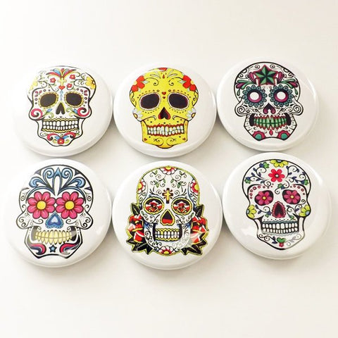 Refrigerator Magnets sugar skull dia de los muertos goth day of the dead skeleton calavera stocking stuffer flair party favors shower gift-Art Altered