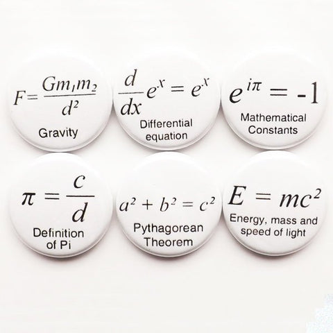 Math Teacher magnets gift formulas arithmetic refrigerator nerd science Pi day equations geekery button pins back to school party favors-Art Altered