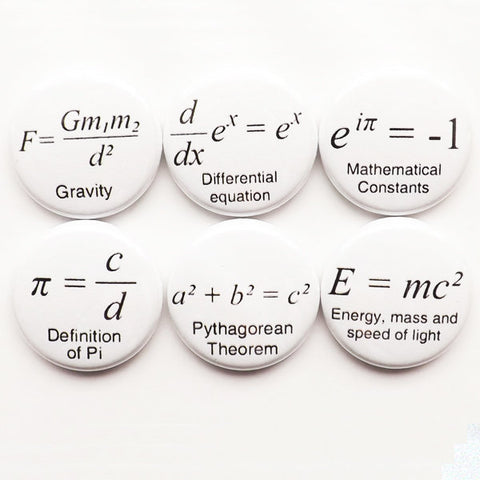 Coworker gift math teacher formulas button pins badges school Pi fathers day science equations physics party favor geek stocking stuffer men-Art Altered