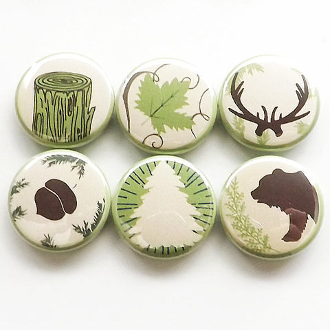 Outdoors Gift camping fridge magnets rustic home decor bear antlers acorn tree leaf nature adventure forest hiking party favors button pins-Art Altered
