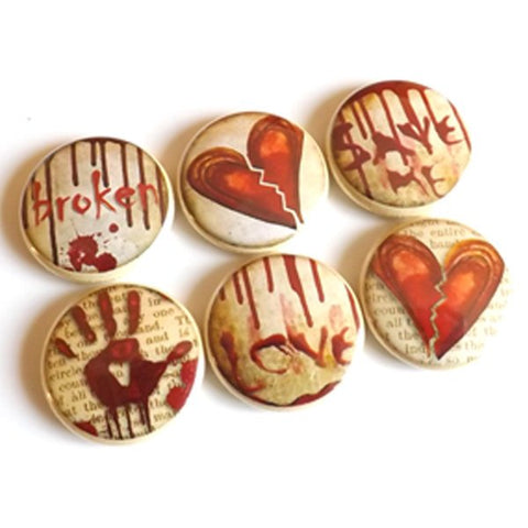 Heart Broken Love button pins magnets stocking stuffer emo goth macabre divorce party favor magnet wedding shower valentine halloween-Art Altered