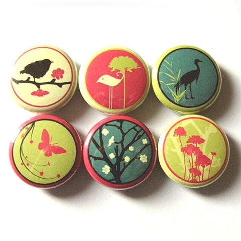 Fridge Magnets Birds Flowers 1 inch refrigerator crane tree mod retro pinbacks stocking stuffer party favor butterfly bird shower gift flair-Art Altered