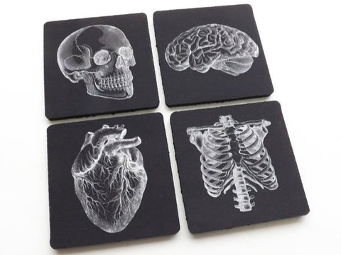 Drink Coasters medical gift doctor nurse physician science decor biology goth home kitchen office mat macabre stocking stuffer men coworker-Art Altered