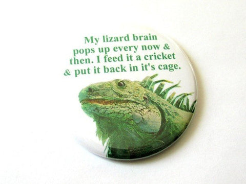 Lizard Brain PIN 2.25 inch pinback buttons badge accessory gag gift humor funny novelty geekery stocking stuffer reptile party favors flair-Art Altered