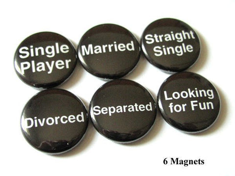 Relationship fridge magnets dating status single divorce player married party favors shower gifts bachelorette button pins geek novelty-Art Altered