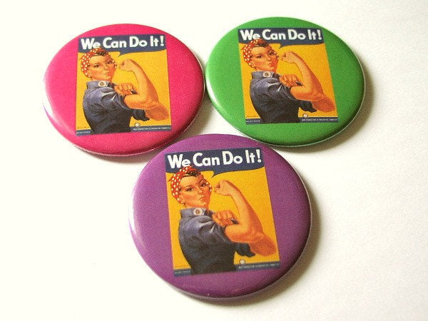 Set of 3 Hand or Pocket MIRRORS we can do it Rosie the Riveter party favor fashion accessory shower gifts stocking stuffers girl power flair-Art Altered