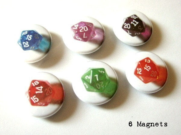 Geekery Magnet set d20 dice polyhedral rpg nerd stocking stuffer party favor shower gifts flair fridge housewarming hostess game button pins-Art Altered