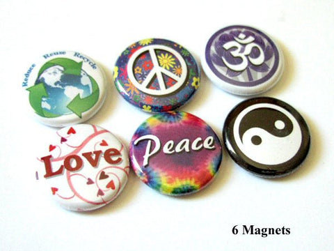 Fridge Magnets peace love om yin yang hippie hippy button pins party favors gift stocking stuffers flair retro mod-Art Altered