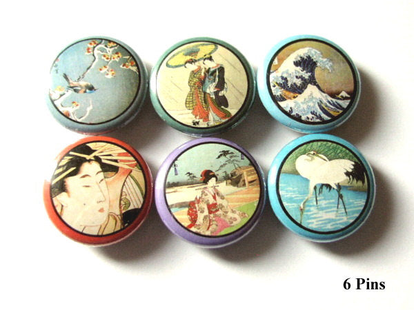 Asian Theme 1 inch Pinback Buttons pins retro Geisha Crane Wave Japanese woodblock flair party favors stocking stuffers magnets gifts-Art Altered