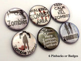 Zombie badges button pins hunter keep calm kill goth macabre halloween party favors gift stocking stuffer novelty flair magnets-Art Altered