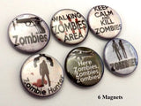 Zombie Hunter fridge magnets keep calm kill scary goth creepy macabre horror stocking stuffer party favors dead gift button pins geek gift-Art Altered