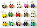 Dice Bunco Earrings Funky Cute d6 dice geekery jewelry bunko rockabilly recycled casino gambling gamer party favors stocking stuffers gifts-Art Altered