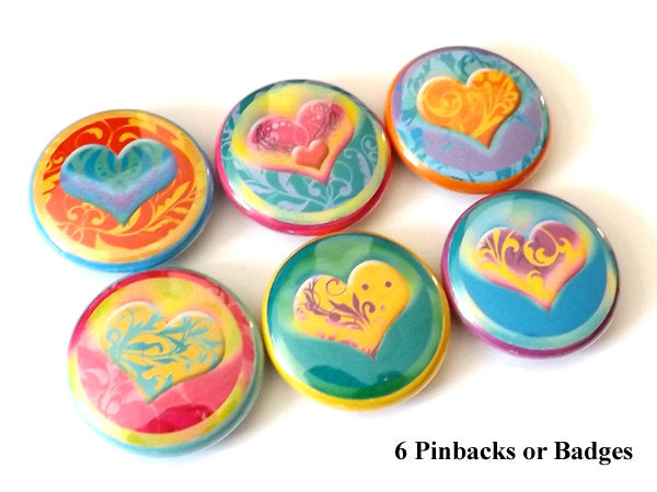 Heart Love button pins badges stocking stuffers shower party favors valentine wedding favors flair gifts magnets-Art Altered