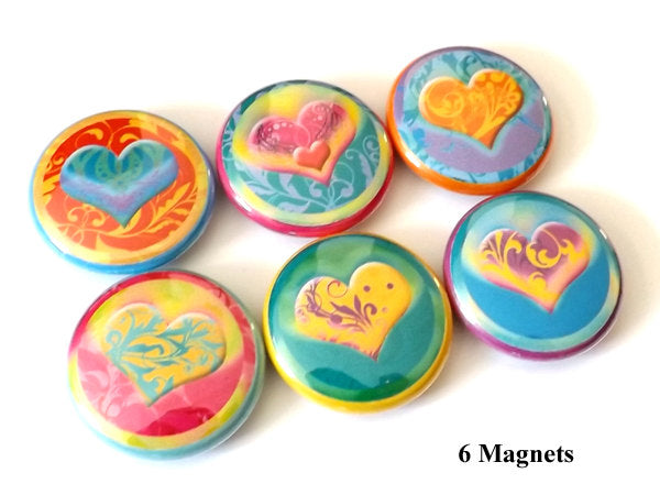 Fridge Magnet Set hearts love refrigerator valentine mothers day bridal shower party favor stocking stuffers flair gift button pins-Art Altered