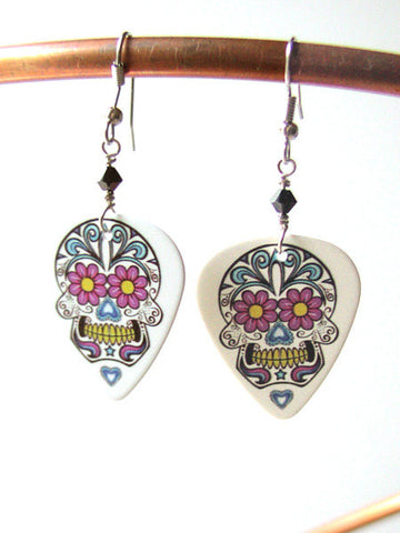 Sugar Skull Guitar Pick Earrings day of the dead dia de los muertos pastel goth wedding shower gift Halloween calavera folk art party favors-Art Altered