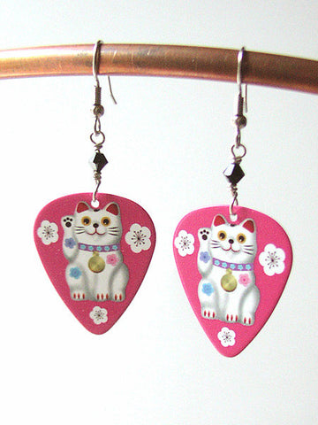 Maneki Neko Guitar Pick Earrings kitty lucky fortune cat Kawaii cute fun funky stocking stuffers party favors shower gifts waving-Art Altered