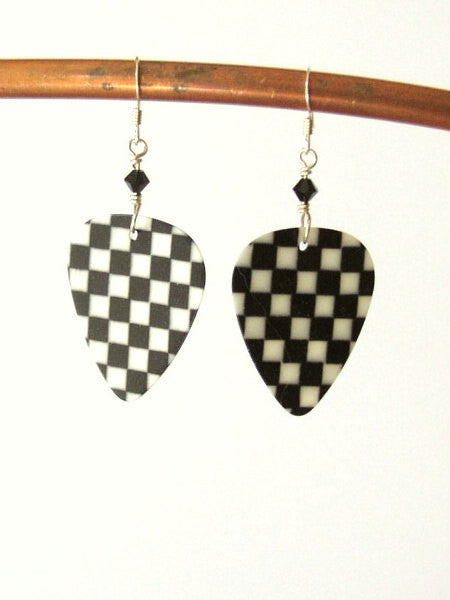 Checkerboard Guitar Pick Earrings Black and White rocker musician gift rockabilly