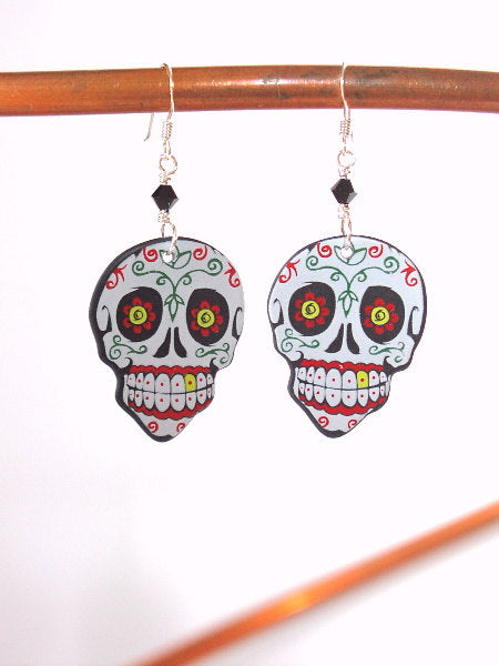 Day of the Dead Guitar Pick Earrings sugar skull dia de los muertos Halloween flowers calavera skeleton party favor stocking stuffers gift-Art Altered