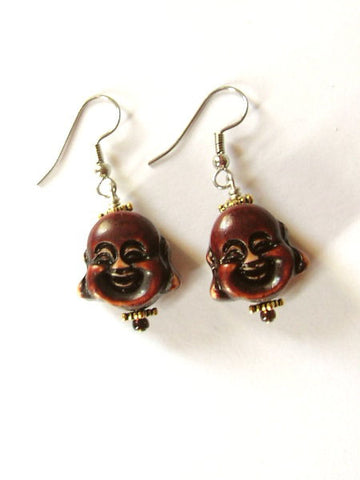 Happy Buddha Earrings beaded earrings smiling laughing geek cute retro funky boho stocking stuffers party favors-Art Altered