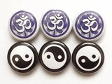Om Yin Yang button pins badges lotus party favors stocking stuffers shower gifts balance zen Asian magnets coaster buddhist yoga peace-Art Altered
