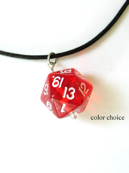 Geekery D20 Dice Necklace COLOR CHOICE pendant unisex guys mens gifts jewelry recycled game stocking stuffer gamer dnd party favors bachelor-Art Altered